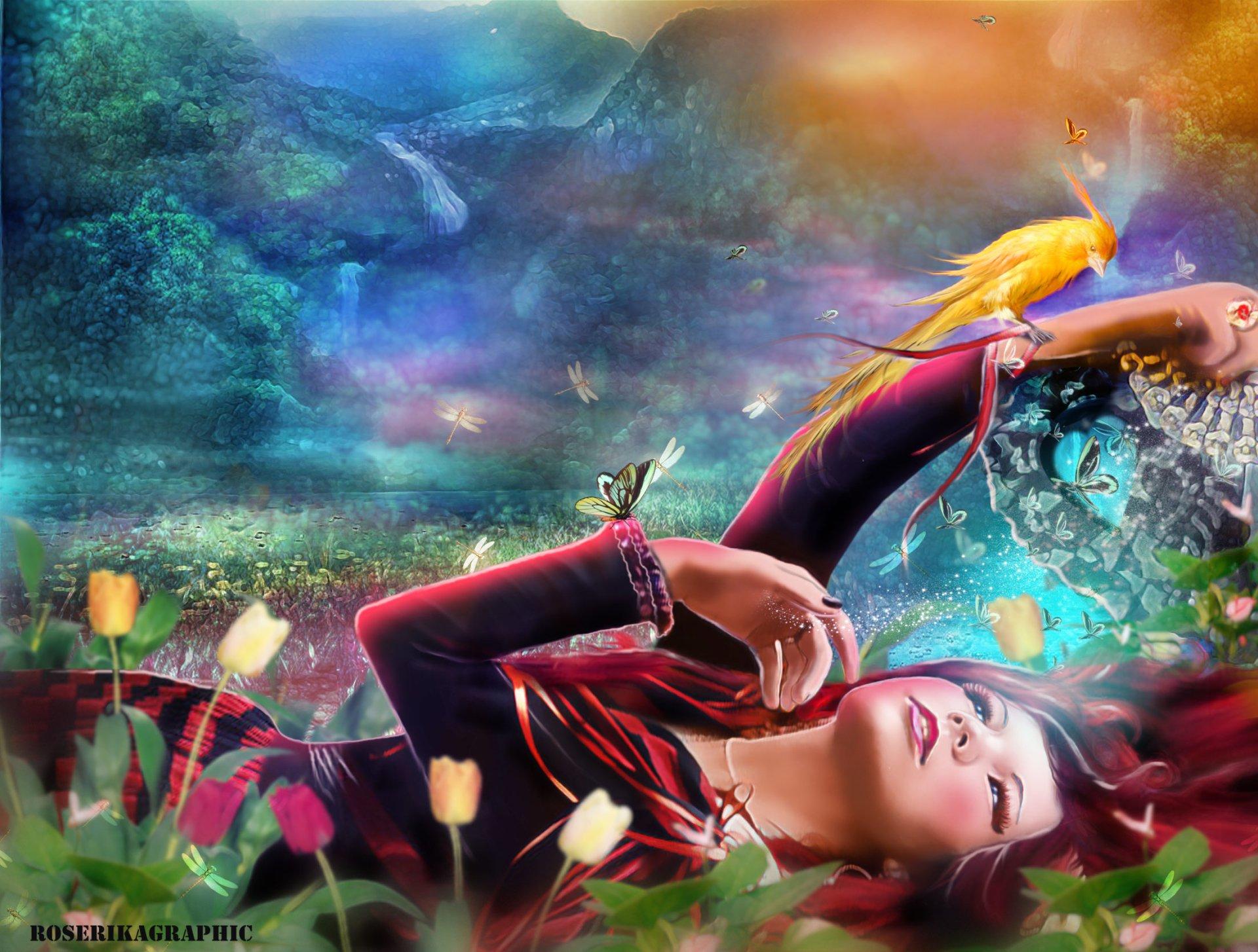 Artistic - Women  Artistic Woman Butterfly Flower Girl Bird Wallpaper