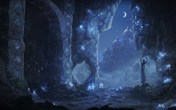 Fantaisie Ruine Ville Nuit Statue Fond d'écran HD | Arrière-Plan