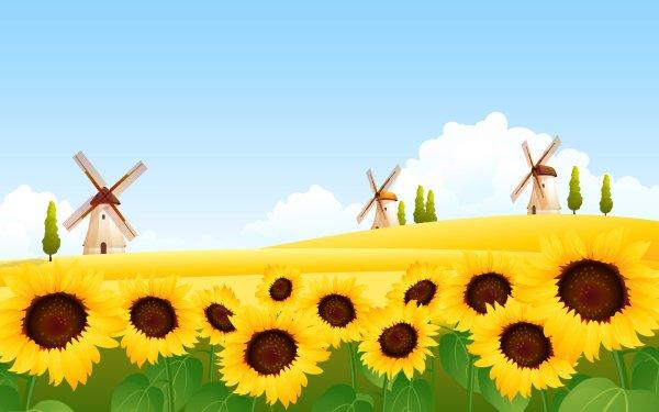 Artistic Nature Windmill Sunflower HD Wallpaper | Background Image