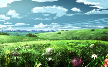Anime Original Scenery Flower Mountain HD Wallpaper | Background Image