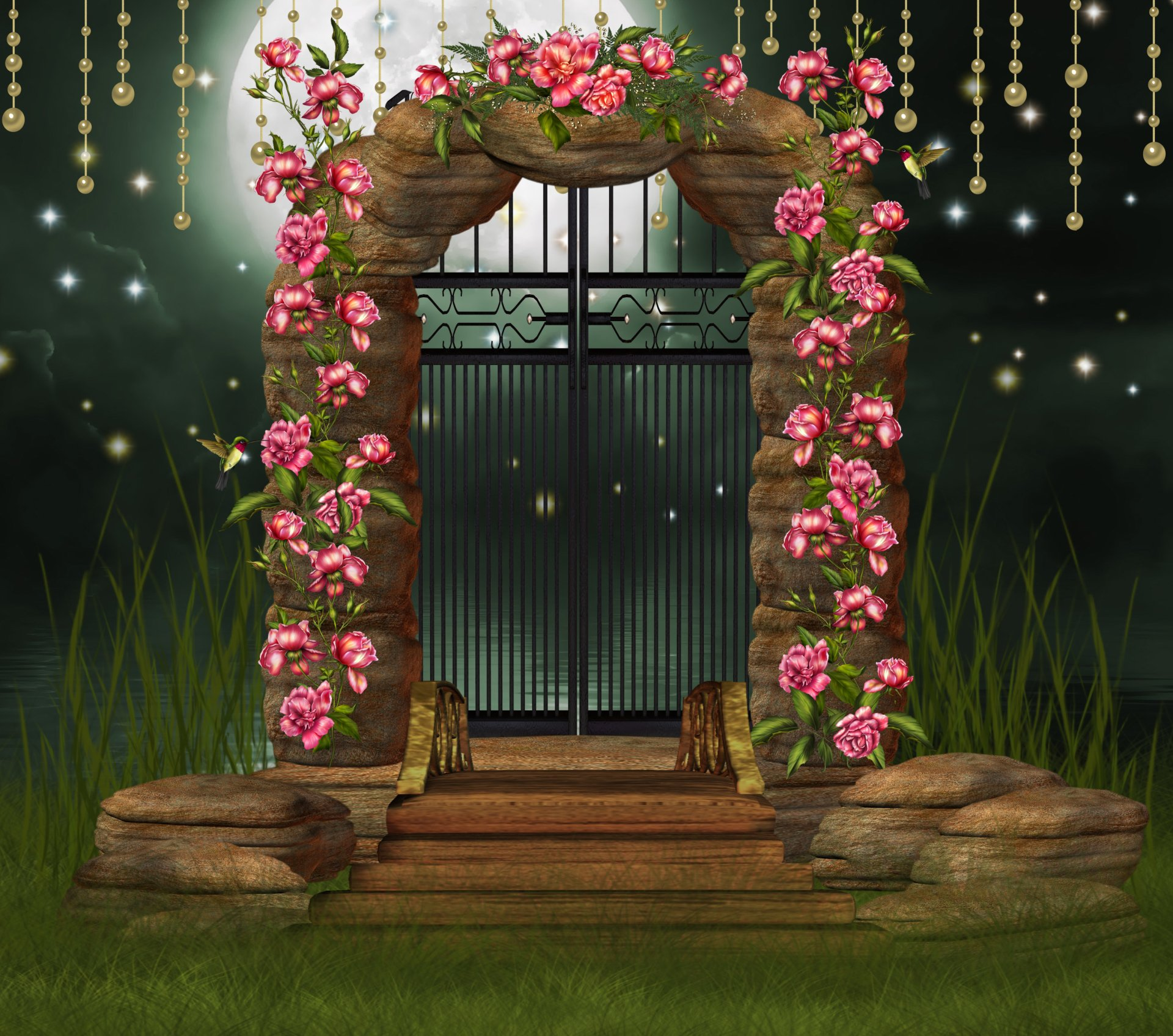 Artistic - Fantasy  Pink Flower Artistic Arch Door Hummingbird Moon Sparkles Wallpaper