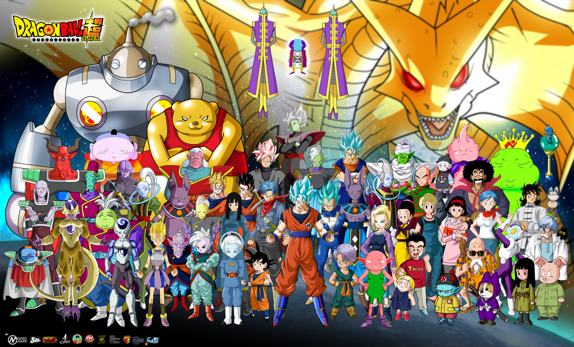 Anime - Dragon Ball Super  Goku Vegeta (Dragon Ball) SSGSS Goku SSGSS Vegeta Vegito (Dragon Ball) SSGSS Vegito Black (Dragon Ball) Black Goku SSR Black Zamasu (Dragon Ball) Piccolo (Dragon Ball) Zeno (Dragon Ball) Beerus (Dragon Ball) Whis (Dragon Ball) Android 18 (Dragon Ball) Krillin (Dragon Ball) Gohan (Dragon Ball) Mai (Dragon Ball) Videl (Dragon Ball) Trunks (Dragon Ball) Yamcha (Dragon Ball) Puar (Dragon Ball) Tien Shinhan (Dragon Ball) Chiaotzu (Dragon Ball) Bulma (Dragon Ball) Pan (Dragon Ball) Hercule (Dragon Ball) Master Roshi (Dragon Ball) Majin Buu Oolong (Dragon Ball) Marron (Dragon Ball) Jaco Teirimentenpibosshi Hit (Dragon Ball) Champa (Dragon Ball) Vados (Dragon Ball) Frieza (Dragon Ball) Supreme Kai (Dragon Ball) Goten (Dragon Ball) Kibito (Dragon Ball) Pilaf (Dragon Ball) Shu (Dragon Ball) Dr. Brief (Dragon Ball) Scratch (dragon ball) Zarama (Dragon Ball) Magetta (Dragon Ball) Frost (Dragon Ball) Kyabe (Dragon Ball) Botamo (Dragon Ball) Old Kai (Dragon Ball) Tights (Dragon Ball) Chichi (Dragon Ball) Dragon Ball Galactic King (Dragon Ball) Tagoma (Dragon Ball) Gowasu (Dragon Ball) Grand Priest (Dragon Ball) Zuno (Dragon Ball) Sorbet (Dragon Ball) Shisami (Dragon Ball) Monaka (Dragon Ball) Bakgrund