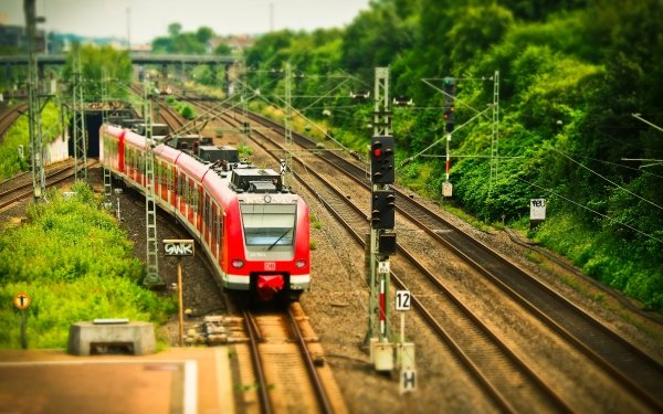 Vehicles Train Railroad Tilt Shift HD Wallpaper | Background Image