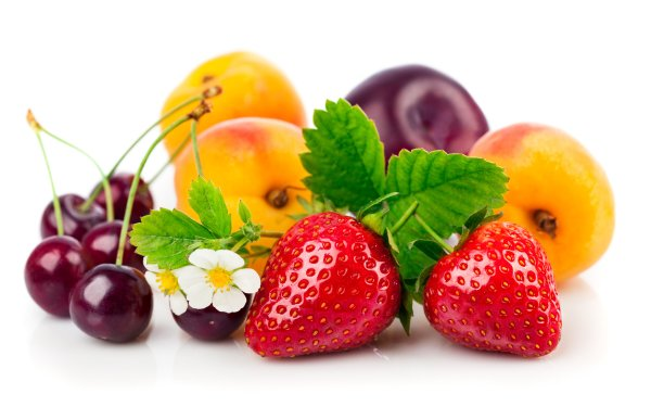 Food Fruit Fruits Strawberry Peach Cherry Plum HD Wallpaper   Background Image