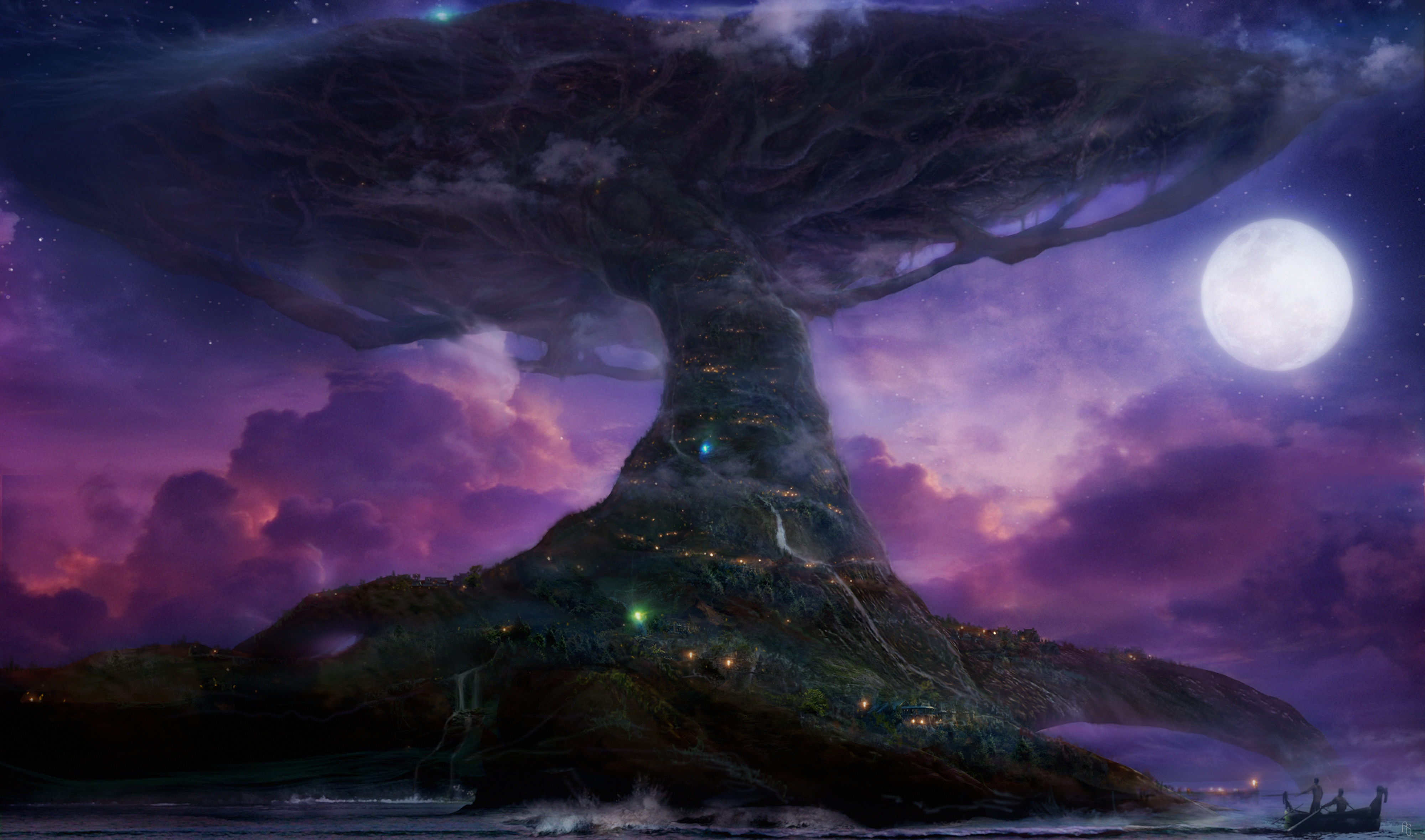 Video Game - World Of Warcraft  Tree City Fantasy Artistic Black Purple Moon Wallpaper