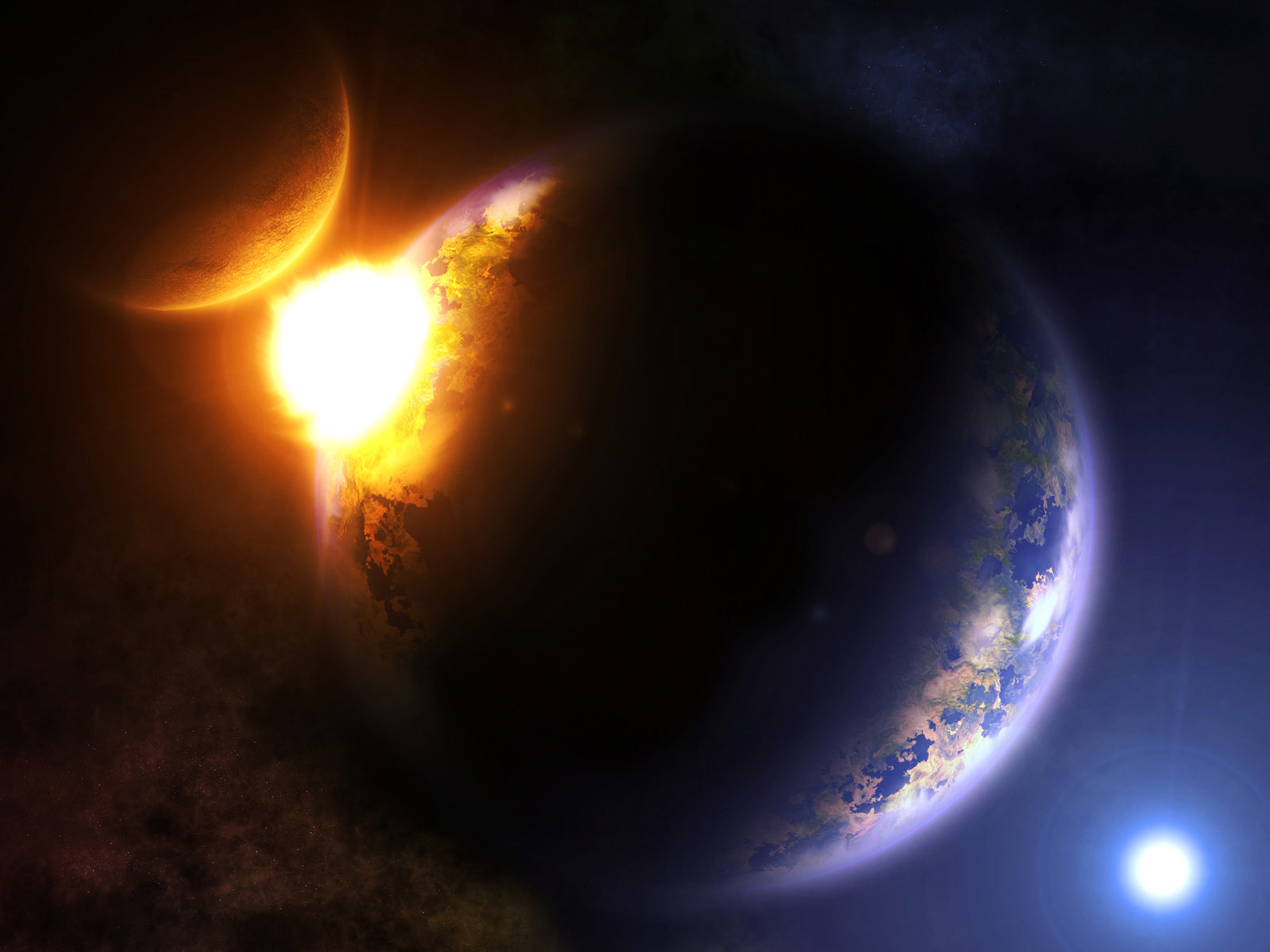 Sci Fi - Explosion  - Universe - Sun - Earth - Space Wallpaper