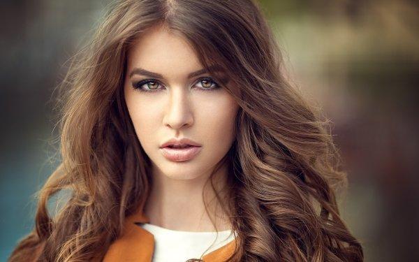 Women Model Models Brunette Face Hazel Eyes Long Hair HD Wallpaper | Background Image