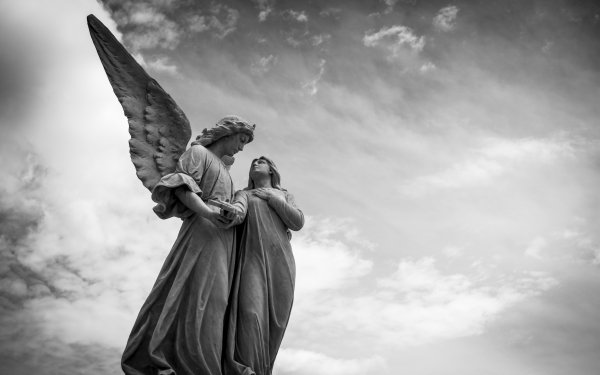 Man Made Angel Statue Black & White Religious Statue Sculpture HD Wallpaper   Background Image