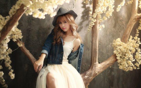 Women Asian Woman Model Hat White Dress White Flower Blonde Brown Eyes HD Wallpaper | Background Image
