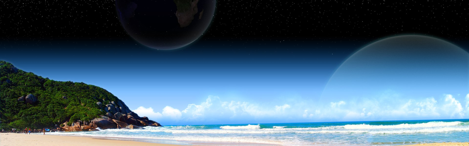 Multi Monitor - Earth  Sky Moon Bay Ocean Beach Summer Water Fantasy Wallpaper