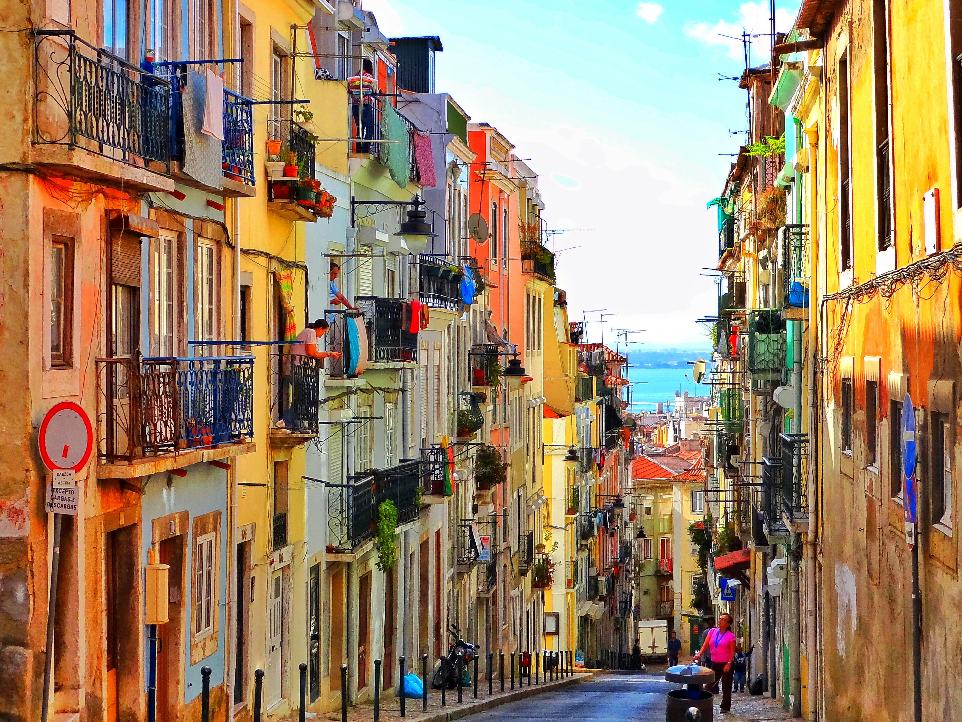 Colorful Street In Lisbon Portugal 4k Ultra HD Wallpaper And