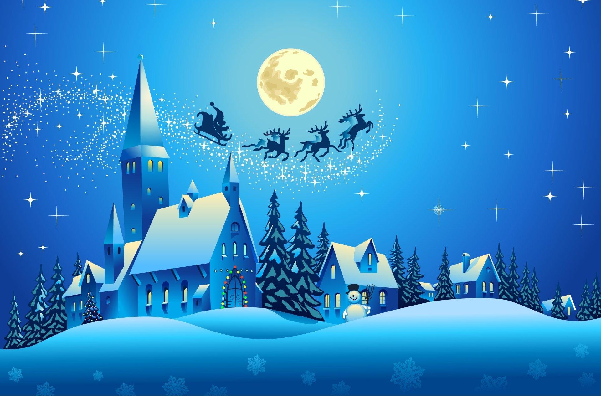 节日 - 圣诞节  艺术 蓝色 Santa Sleigh 房屋 雪人 教堂 树 壁纸