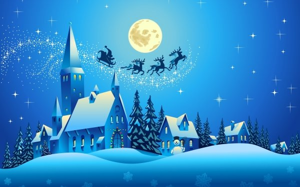 Día festivo Navidad Azul Santa Sleigh Iglesia Fondo de pantalla HD | Fondo de Escritorio