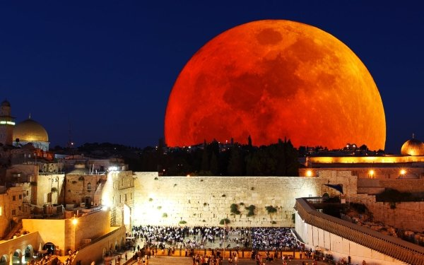 Earth Moon Blood Moon City HD Wallpaper | Background Image