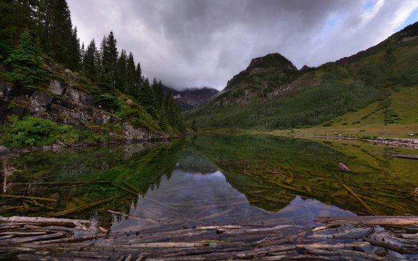 Earth Lake Lakes Nature Reflection Log Mountain HD Wallpaper | Background Image