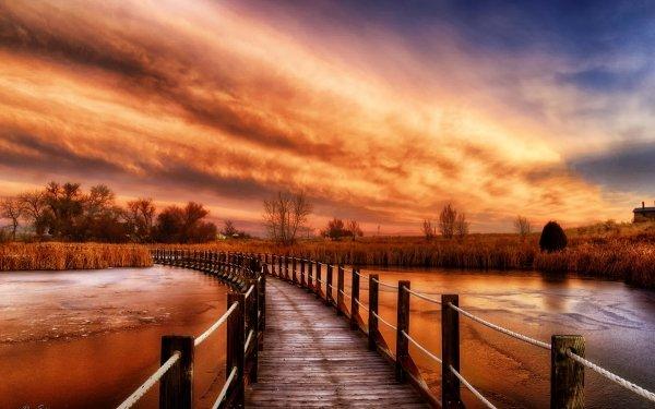 Man Made Path Lake Sky Sunset Boardwalk HD Wallpaper | Background Image
