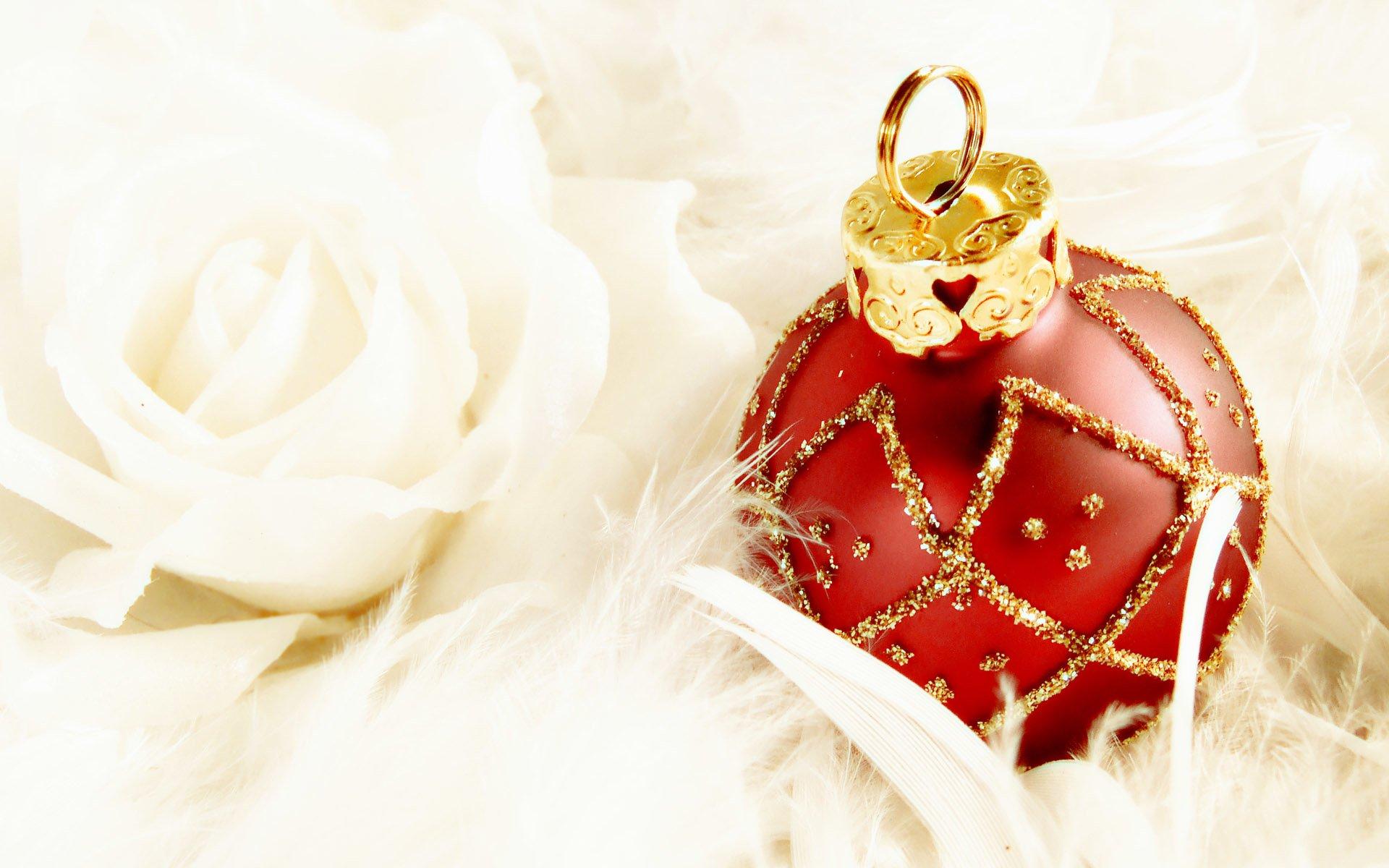 Rose christmas ornament - Holiday Christmas Holiday Christmas Ornaments Red White Rose Wallpaper