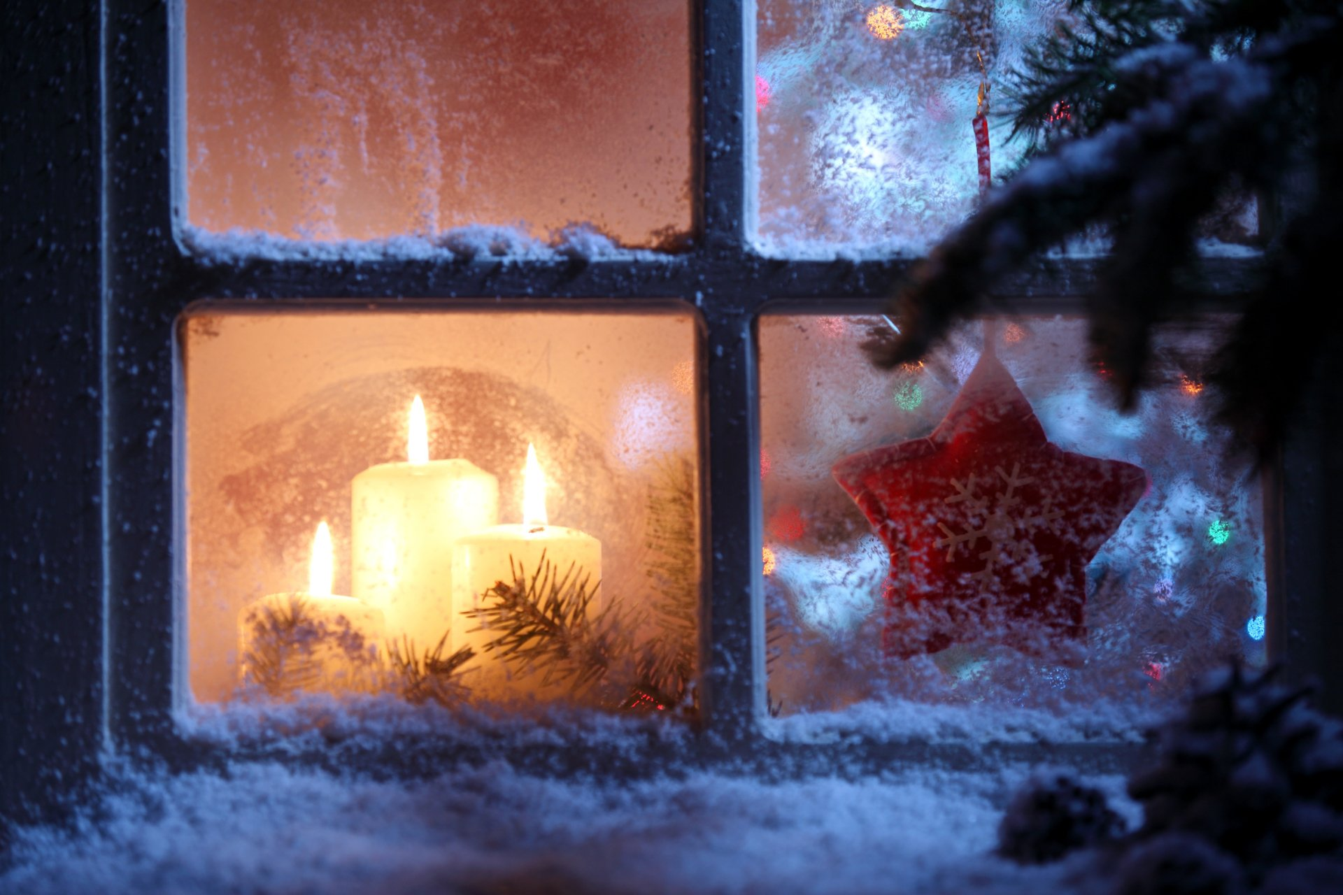 Holiday - Christmas  Window Candle Christmas Ornaments Wallpaper
