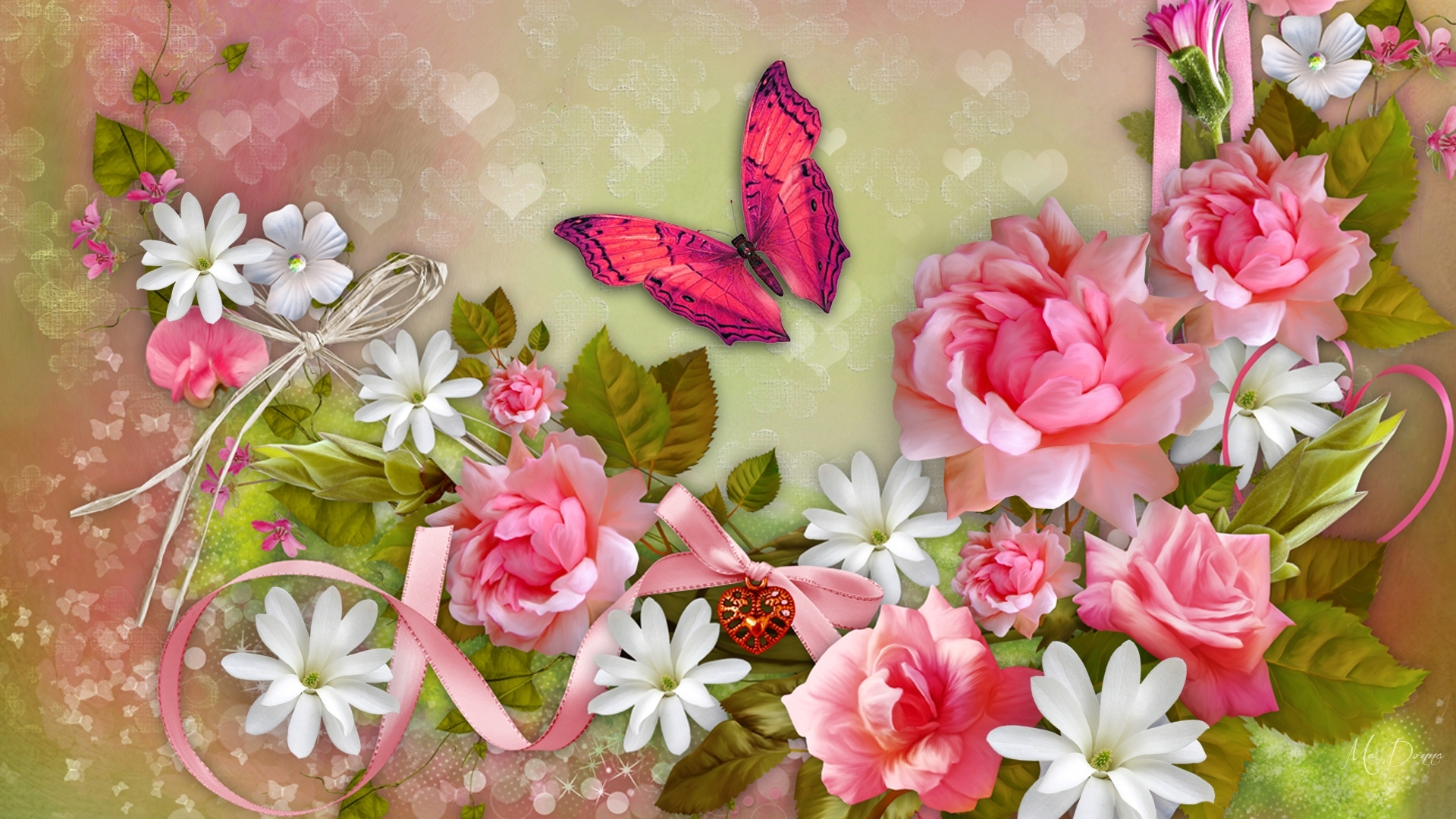 Butterfly And Flowers Hd Wallpaper Background Image