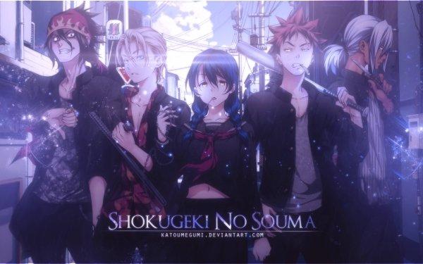 Anime Food Wars: Shokugeki no Soma Megumi Tadokoro Sōma Yukihira Ryō Kurokiba Akira Hayama Takumi Aldini HD Wallpaper   Background Image
