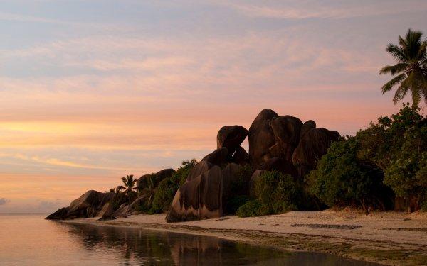 Tierra/Naturaleza Playa Seychelles Océano Sea Rock Atardecer Fondo de pantalla HD | Fondo de Escritorio