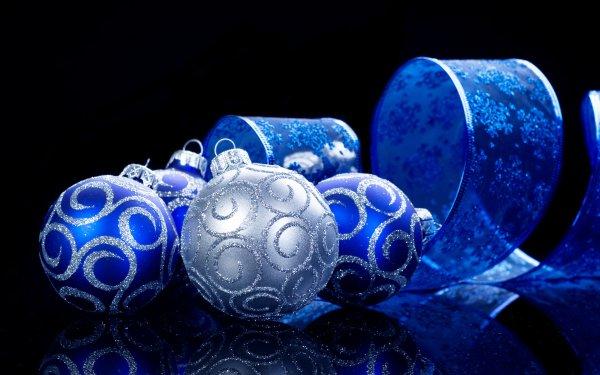 Holiday Christmas Christmas Ornaments Blue Silver Ribbon HD Wallpaper | Background Image