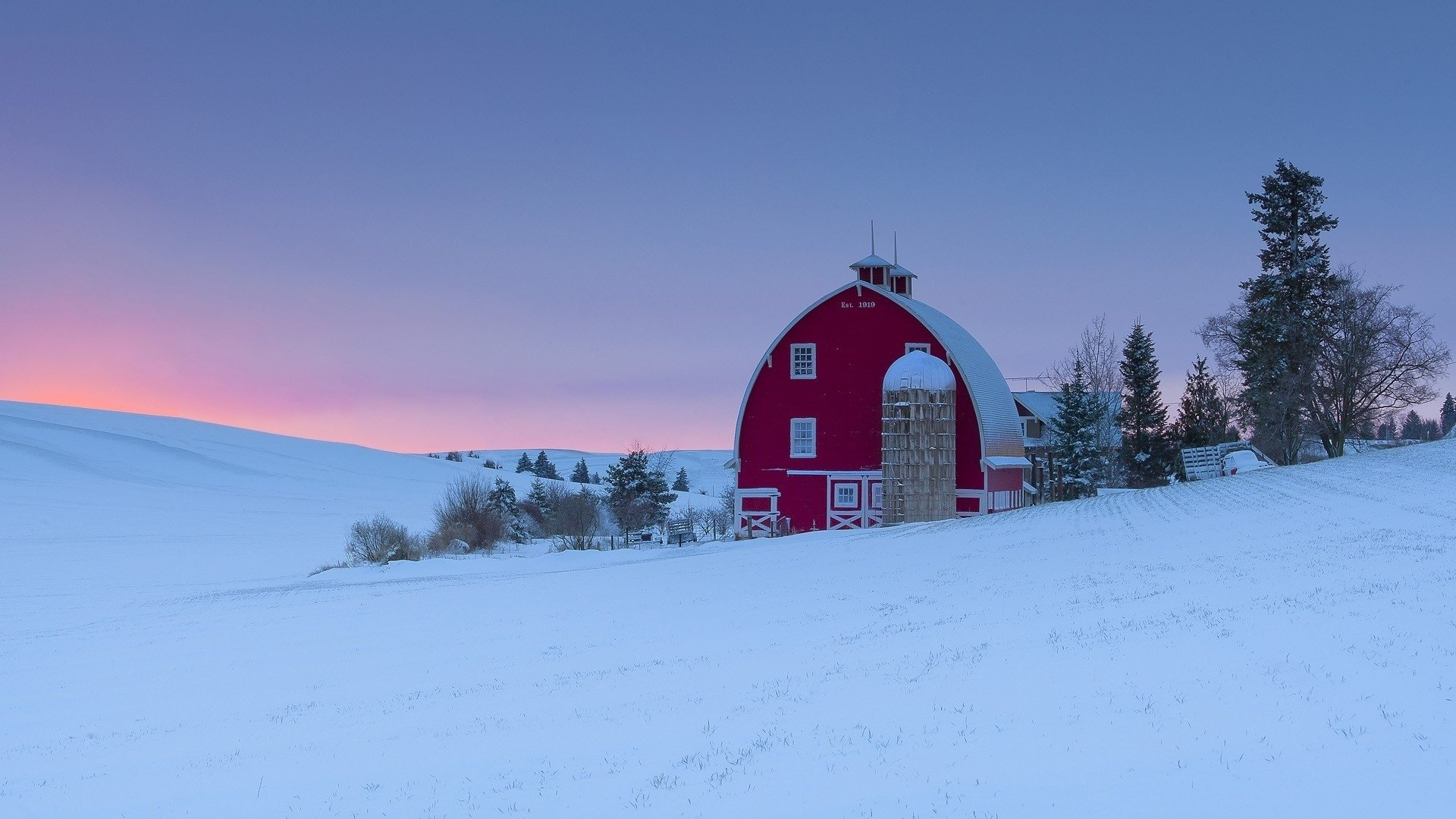 Barn and silo in winter sunset hd wallpaper background image 1920x1080 id 782108 - Winter farm scenes wallpaper ...