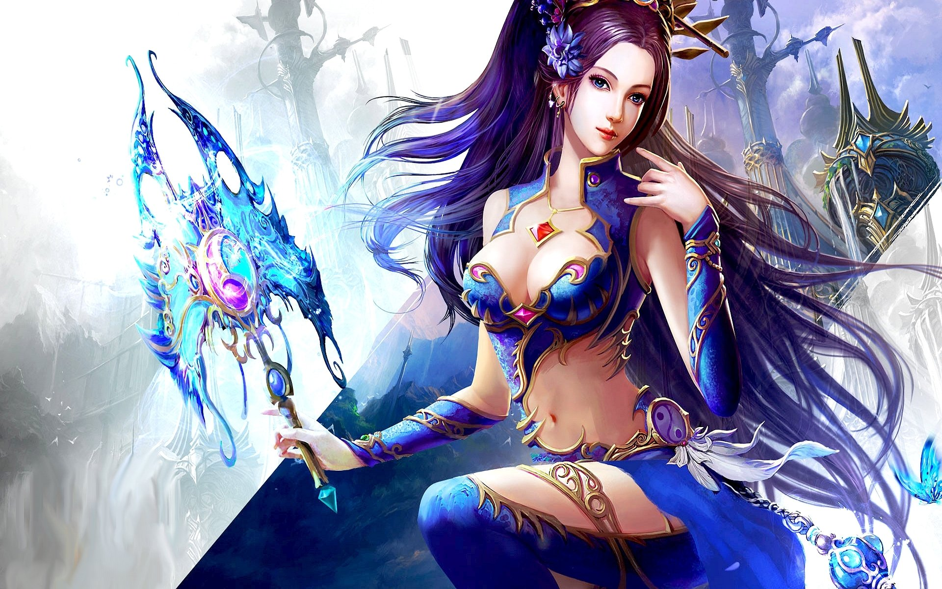 Fantasy - Women  Fantasy Woman Girl Blue Castle Staff Purple Hair Blue Eyes Wallpaper