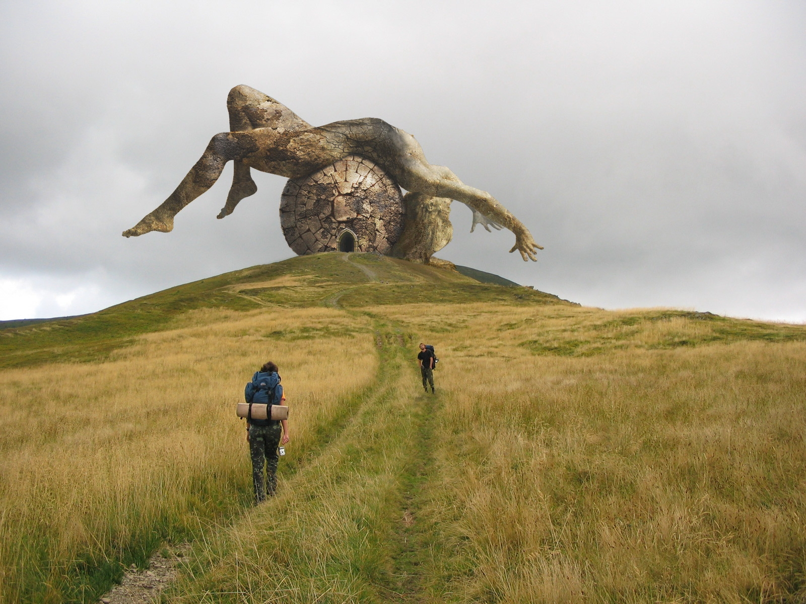 Компьютерная Графика - Клёвый  Fallen God Monument Cgi Hill Обои
