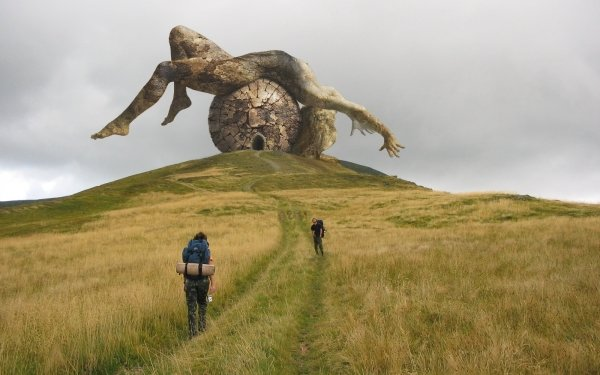 Artistic Digital Art Fallen God Monument CGI Hill HD Wallpaper | Background Image