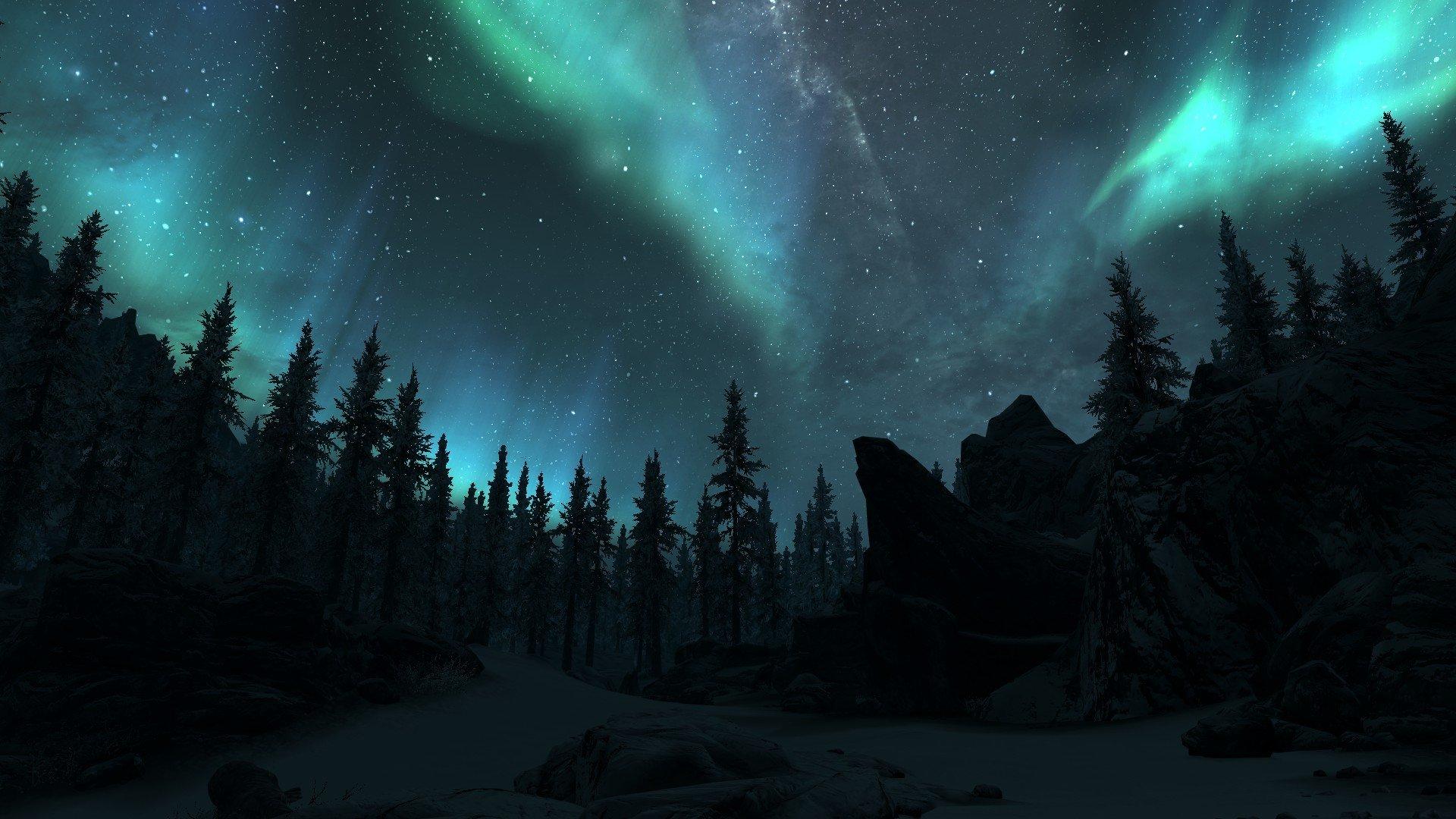 Aurora borealis over winter forest hd wallpaper sfondi for Sfondi desktop aurora boreale