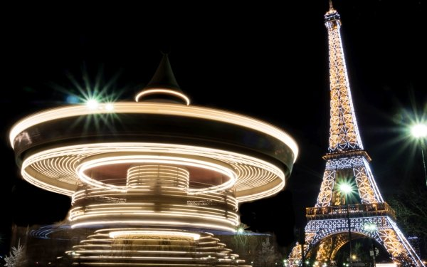 Man Made Eiffel Tower Monuments Paris Monument Night Light Carrousel Time-Lapse HD Wallpaper | Background Image