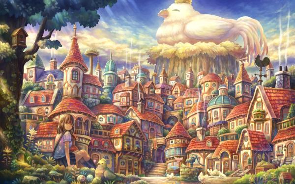 Anime Original Bird Chicken HD Wallpaper   Background Image