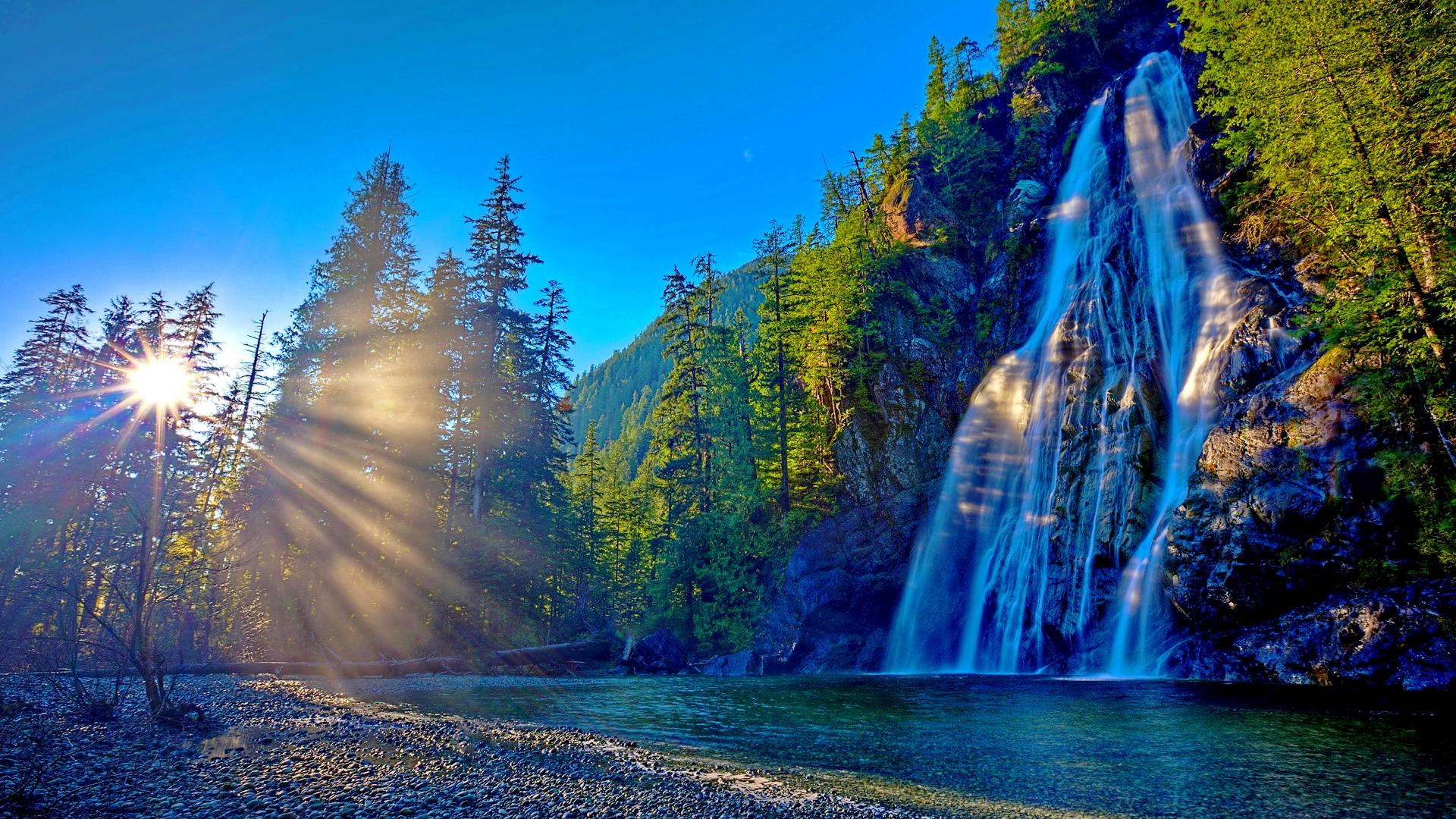 Waterfall At Sunrise HD Wallpaper