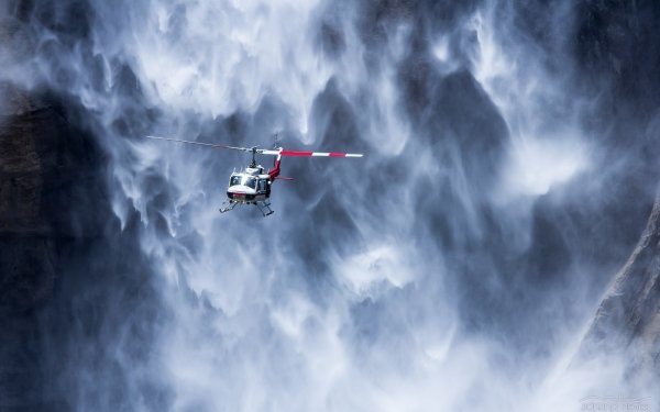 Vehicles Helicopter Aircraft Helicopters Waterfall HD Wallpaper   Background Image
