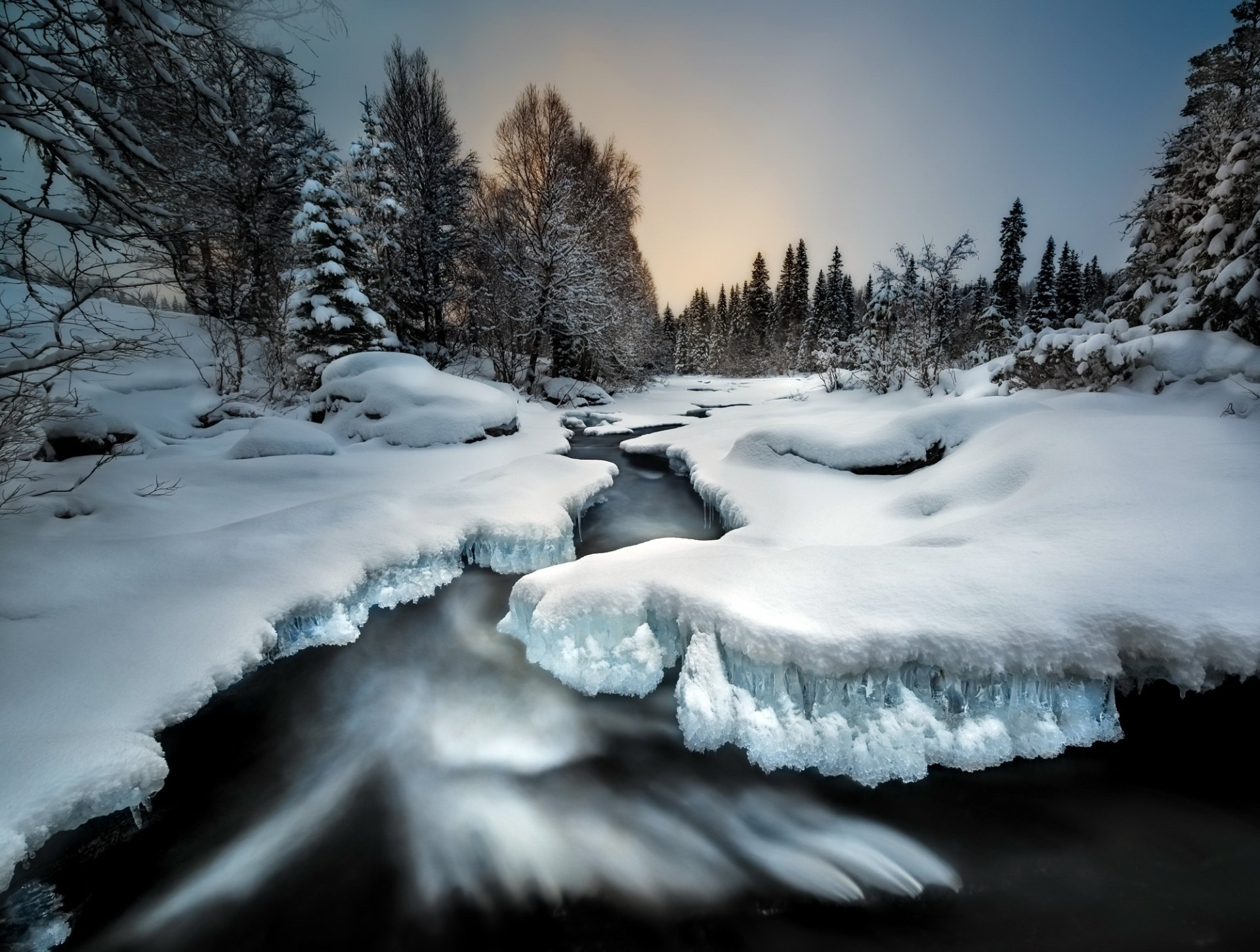 Earth - Stream  Nature Winter Snow Ice Wallpaper