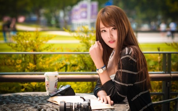 Women Asian Woman Model Depth Of Field Brunette Brown Eyes HD Wallpaper | Background Image