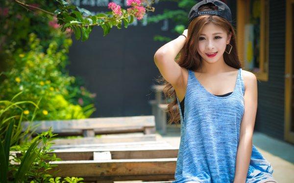 Women Asian Woman Model Brunette Brown Eyes Cap Smile HD Wallpaper | Background Image