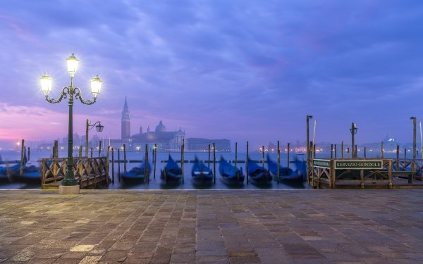 Man Made Venice Cities Italy Gondola Dusk HD Wallpaper | Background Image