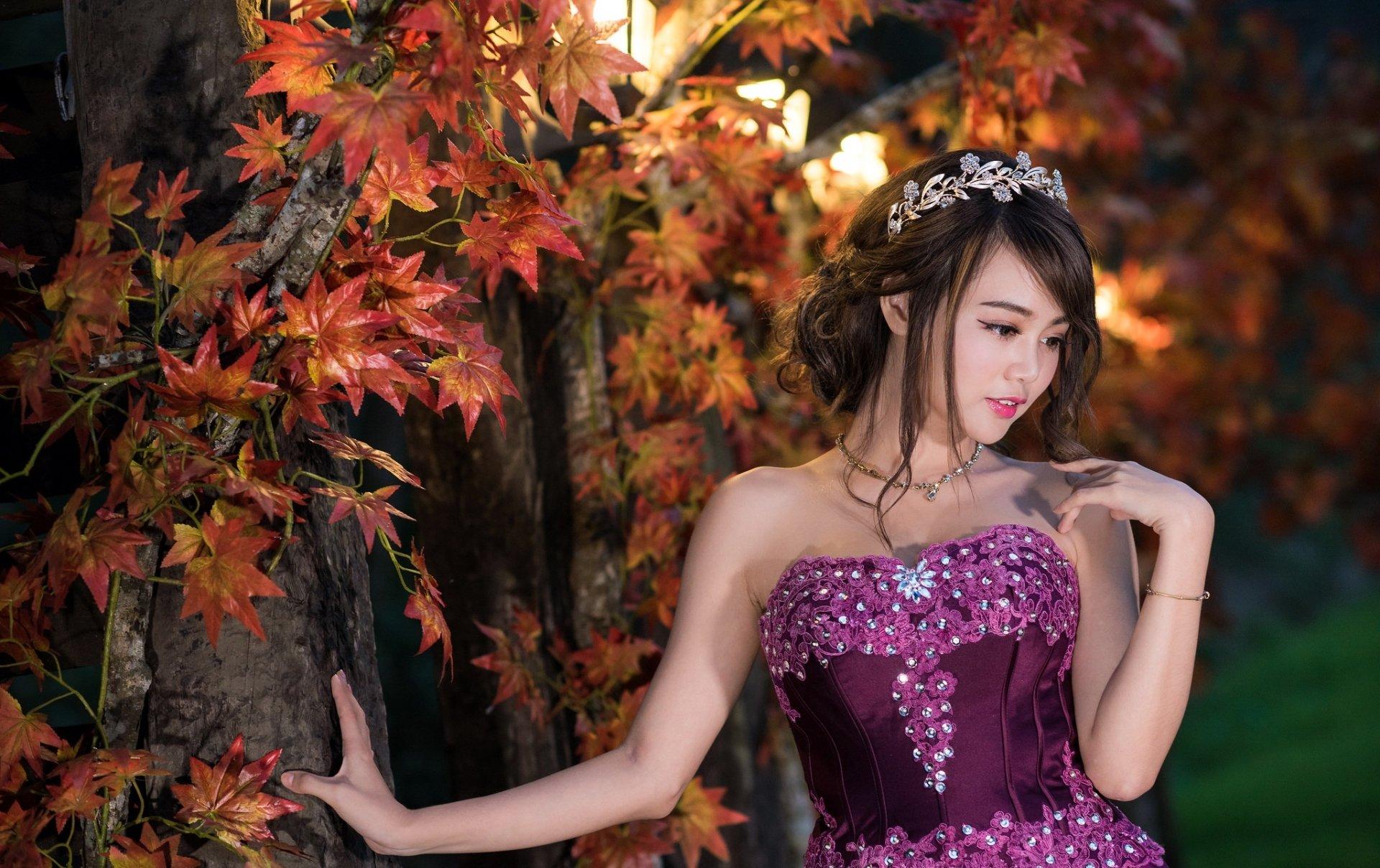 Women - Asian  Woman Model Girl Brunette Dress Fall Brown Eyes Wallpaper