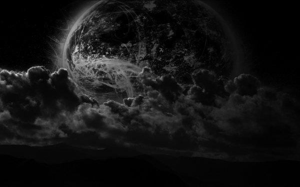 Science-Fiction Planetenaufgang Mond Wolke Nacht HD Wallpaper | Hintergrund