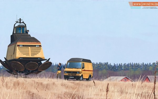 Sci Fi Vehicle Crops Floating Truck HD Wallpaper | Background Image