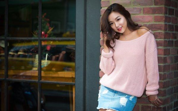 Women Asian Woman Model Skirt Brunette Smile Brown Eyes HD Wallpaper | Background Image