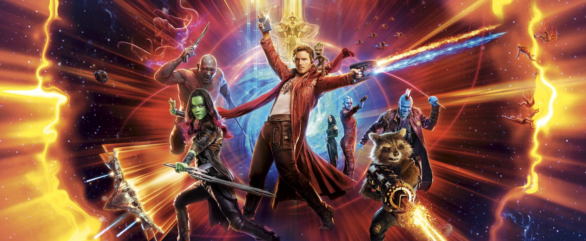 Film - Galaksinin Koruyucuları 2  Peter Quill Rocket Raccoon Gamora Drax The Destroyer Yondu Udonta Nebula (Guardians of the Galaxy) Mantis (Marvel Comics) Groot Chris Pratt Zoe Saldana Dave Bautista Michael Rooker Karen Gillan Marvel Comics Pom Klementieff Star Lord Duvarkağıdı