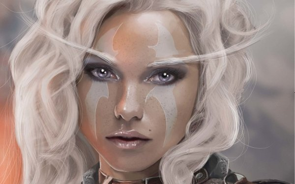 Fantasy Women Woman Face Purple Eyes White Hair HD Wallpaper | Background Image