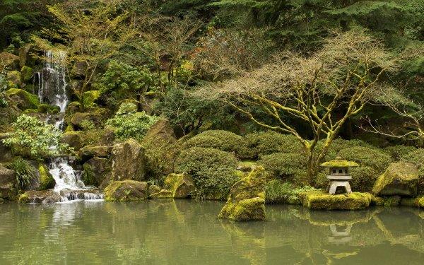 Man Made Japanese Garden Garden Nature Pond Waterfall Rock Tree HD Wallpaper | Background Image