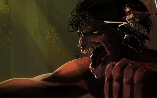 Anime Attack On Titan Mikasa Ackerman Eren Yeager HD Wallpaper | Background Image