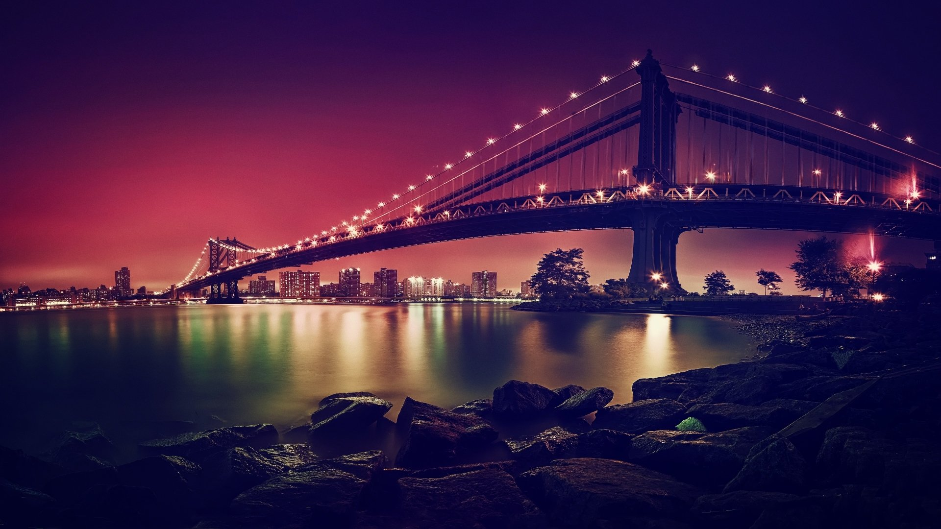 Man Made - Manhattan Bridge  New York Bridge Water Bay Night Light Wallpaper