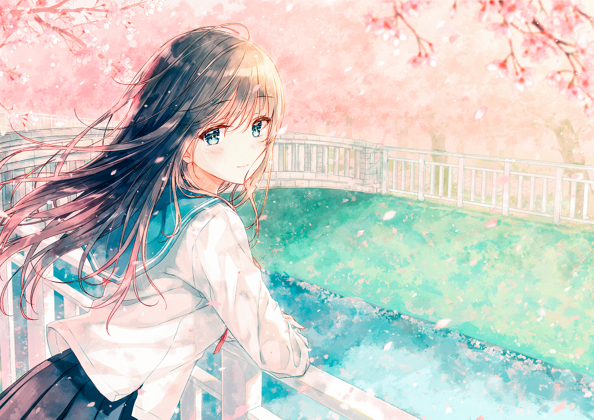Anime - Original  Canal Smile Brown Hair Blue Eyes Blush School Uniform Spring Petal Blossom Girl Long Hair Anime Wallpaper