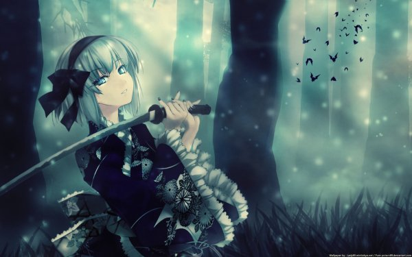 Anime Touhou Sword Youmu Konpaku Short Hair White Hair Aqua Eyes HD Wallpaper   Background Image